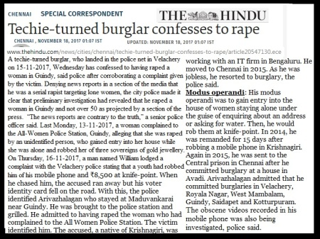 Techie-burglar raped many women-The Hindu-18-11-2017