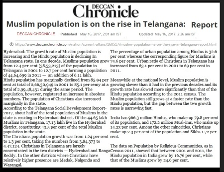 Hyderabad Mus;im population increases- DC-- 16-05-2017